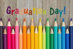 Graduation day message with colored pencils stock photography