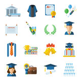 Graduation Day Vector Icons. Graduation vector icon set. Man and woman graduates in graduation hat and gown. Graduation elements in flat design isolated on white Stock Photo