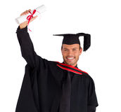graduation de garçon heureuse sien images libres de droits