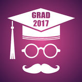 Graduation design with hut and text Congrats Grad. Vector congra. Tulations graduates Class of 2017 badge. Concept for shirt, print, seal, overlay or stamp Royalty Free Stock Photos