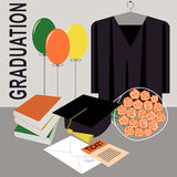 Graduation design over grey background. Royalty Free Stock Photos