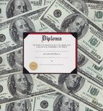 Graduation diploma. Graduation dipolma with money background royalty free stock image