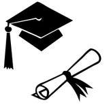 Graduation diploma and cap Royalty Free Stock Image