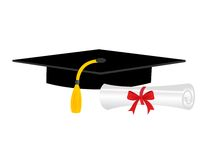 Graduation diploma and cap. Illustration of a diploma and mortarboard cap symbolizing graduation. eps file available Royalty Free Stock Images