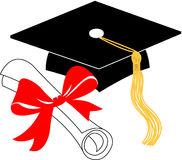 Graduation diploma and cap/eps. Illustration of a diploma and mortarboard cap symbolizing graduation...want to customize to school colors? eps file available Royalty Free Stock Photos