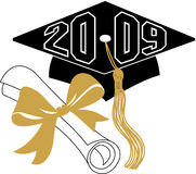 Graduation diploma and cap/eps. Illustration of a diploma and mortarboard cap symbolizing graduation 2009...want to customize to school colors? eps file royalty free illustration