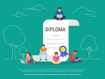 Graduation diploma concept vector illustration. Of young people using laptop, tablet pc and smartphone for distance studying and education. Flat design of guys Stock Photos