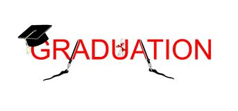 Graduation with a diploma, and a old-fashioned nib. The quill pen or nib pen in the word Graduation, great for anyone graduating with an arts program, or just Royalty Free Stock Photos