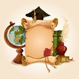 Graduation diploma old style. College university old style vintage graduation diploma certificate with globe and books vector illustration Royalty Free Stock Photos