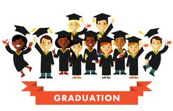 Graduation education concept in flat style Royalty Free Stock Photos