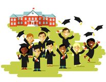 Graduation education concept in flat style Stock Photo
