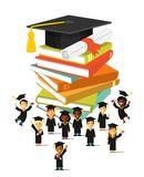 Graduation education concept  in flat style Royalty Free Stock Photography