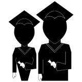 Graduation education icon in  silhouette black on white backgrou Stock Images