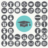 Graduation and Education icons set. Royalty Free Stock Image