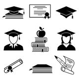 Graduation and education icons Royalty Free Stock Images