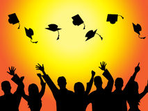 Graduation Education Means Graduate Diploma And Train Stock Image