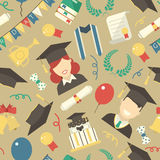 Graduation Elements Seamless Pattern Background Stock Photography