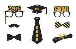 Graduation elements set. Gold, black. Vector flat. Royalty Free Stock Images