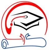 Graduation emblem. Isolated line art graduation logo design Stock Images