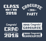 Graduation2016 emblems set. High School , College Graduation Set. Vector typography. Stock Photos