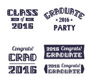 Graduation2016 emblems set. High School , College Graduation Set. Vector typography. Graduation2016 emblems set. High School , College Graduation Set. Vector Royalty Free Stock Image