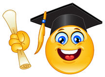 Graduation emoticon. Design of a graduation emoticon
