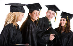 Graduation: Female Student With Friends and Diploma Royalty Free Stock Images