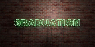 GRADUATION - fluorescent Neon tube Sign on brickwork - Front view - 3D rendered royalty free stock picture Royalty Free Stock Images