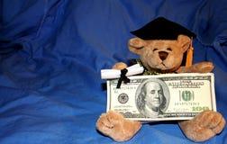 Graduation Gift. Graduation bear with $100 gift Stock Photos