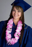 Graduation Girl. Wearing flower lei Royalty Free Stock Images