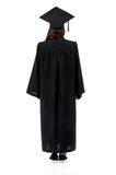 Graduation girl. Back mantle graduate student girl, isolated on white background Royalty Free Stock Image