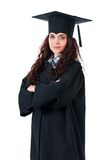 Graduation girl. Beautiful graduate girl student in mantle, isolated on white background Stock Photography