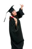 Graduation girl. Graduate girl student in mantle with diploma, isolated on white background Royalty Free Stock Photo