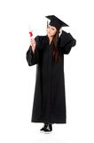 Graduation girl. Graduate girl student in mantle with diploma, isolated on white background Royalty Free Stock Image