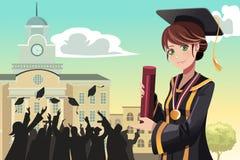 Graduation girl holding diploma vector illustration