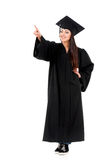 Graduation girl. Young graduation man holding diploma, isolated on white background Stock Image