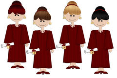 Graduation Girls - Burgundy Gown. Here is a collection of graduation girls in different hair colors. All dressed in burgundy robes and/or gowns. Wonderful for Royalty Free Stock Images