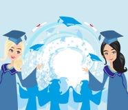 Graduation girls card Royalty Free Stock Photos