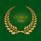 Graduation 2016 gold laurel on green Royalty Free Stock Photos