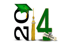 2014 graduation with gold tassel. Green graduation cap, diploma and gold tassel for class of 2014 isolated on white Royalty Free Stock Photos
