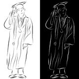 Graduation Gown Line Drawing stock illustration