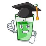 Graduation green smoothie character cartoon. Vector illustration royalty free illustration