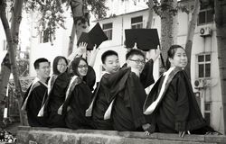 Graduation group 2. Happy group of students in their graduation smiling Royalty Free Stock Images