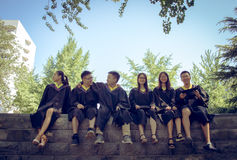 Graduation group 5. Happy group of students in their graduation smiling Royalty Free Stock Photography