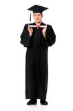 Graduation guy. Graduate guy student in mantle with diploma, isolated on white background Royalty Free Stock Image