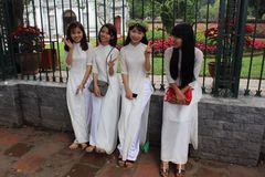 Graduation 2017 at Hanoi Vietnam. Four beUtiful young women in graduation royalty free stock photos