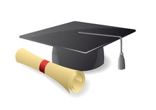 Graduation hat. Vector illustration of a graduation hat and diploma Royalty Free Stock Images