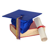 Graduation Hat, Book And Diploma Stock Images
