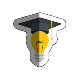 Graduation hat with bulb light isolated icon. Illustration design Royalty Free Stock Photo