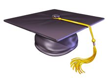 Graduation hat cap. Graduation diploma from university or college Isolated on white royalty free illustration